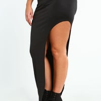 PLUS SIZE STRETCH CUTAWAY SKIRT
