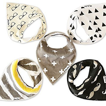 Baby Bandana Bibs- Ultra Absorbent Organic Cotton Drool Bib/Teething Bibs With Adjustable Snaps, 5-Pack Unisex Drooling Bibs Burp Cloths, Unique Baby Gifts Set for Boys or Girls