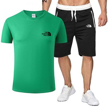 The North Face Popular Men Letter Print Sports Top And Shorts Two Piece Suit Green