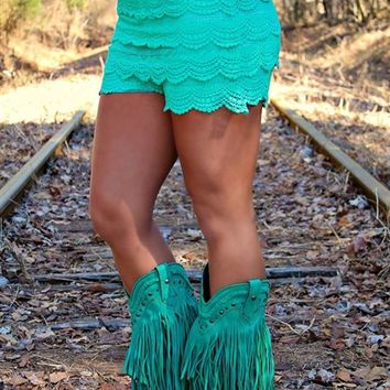 Gum Drop Lace Shorts - Turquoise (RUNS SMALL)