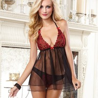 Ultra Sexy Double Tiered Halter Babydoll