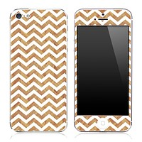 Wood Panel under White Chevron Pattern Skin for the iPhone 3, 4/4s or 5