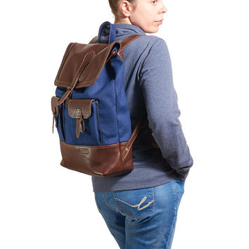 Canvas and brown leather backpack. Navy blue canvas rucksack. Hipster backpack with leather base and flap. READY TO SHIP
