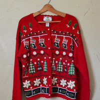Vintage Sweater Cardigan Sweater Christmas Sweater Ugly Christmas Sweater Holiday Sweater  Christmas Size XL Plus Size