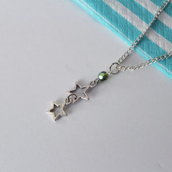 Second Star to the Right Necklace Peter Pan Disney Inspired Jewelry Disneybound Green Bead Silver Star Charm Disneybound Geek Nerd Girl Gift