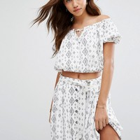 Moon River Printed Crop Top Co-Ord at asos.com