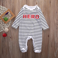 Autnmn Newborn Infant Baby Boy Girl Kids Long Sleeve Cotton Romper Hero Striped Jumpsuit  Clothes