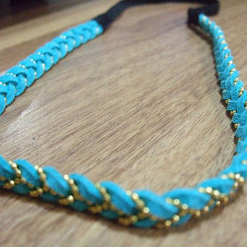blue shining Headband,leather headband,flower headband,braided headband,adjustable
