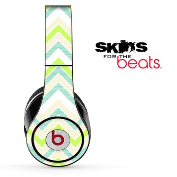 Subtle Greens Chevron Pattern Skin for the Beats by Dre Solo, Studio, Wireless, Pro or Mixr