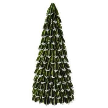 Smith & Hawken&#153 Dried Sisal Husk Tree with Faux Snow Dark Green - 14""
