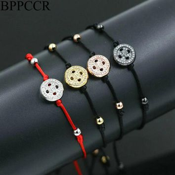 BPPCCR Brand Button Charm Cords Bracelets For Men Women Thin Red Rope String Thread Gold/Silver color Micro CZ Lucky Bracelets