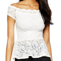 Scallop Off Shoulder Short Sleeve Floral Lace Peplum Top