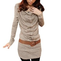 Amazon.com: Allegra K Cowl Neck Long Sleve Pullover Khaki Shirt S w Belt for Women: Clothing