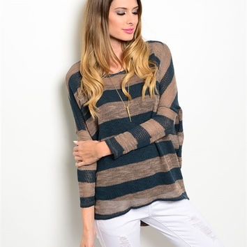 Mocha and Teal Stripe Sweater