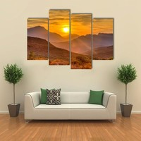 Deep Orange Sunset Behind The Mountains Multi Panel Canvas Wall Art