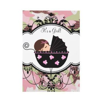 Pink Black Camouflage Baby Girl Shower Invitations from Zazzle.com