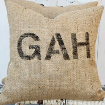 GAH Burlap & Chevron 18 Pillow Hand Painted by MySwallowsNest