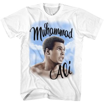 Muhammad Ali Tall T-Shirt Airbrush Portrait White Tee