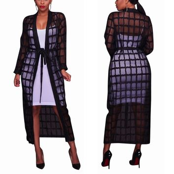 2018 Summer Black Plaid Long Mesh Trench Coat Women Casual Maxi Beach See Through Elegant Female Overcoat Robe