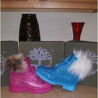 Custom Glitter Timberland Boots with Fur Collar
