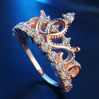 Classic Crown Ring with Rhinestone for Women