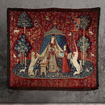 Large Woven Cotton Tapestry - Lady with Unicorn Tapestry