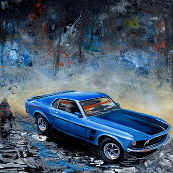 1960's Blue Ford Mustang Boss, original oil painting, 1969 Mustang, fathers day, gift, christmas, present, men, man