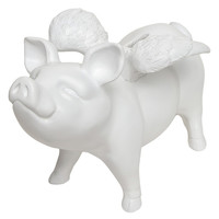 Interior Illusions Piggy Bank with Wings - White