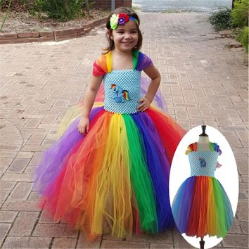 Children Girl Rainbow Tutu Dress Princess Little Horse Tutu Dresses Little Girls Dress Up Fancy Tutus Baby Clothing Christmas