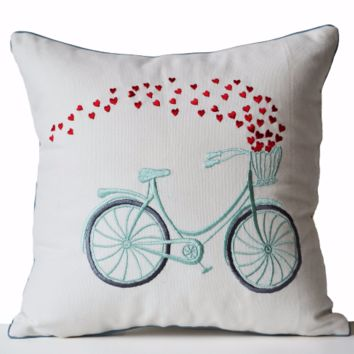 Decorative Throw Pillow Cover Heart Bicycle Embroidered Cotton Cushion Engagement Wedding Anniversary Birthday Gift Back to School
