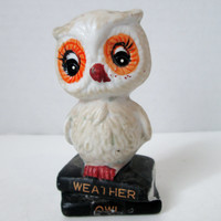 Vintage Weather Owl Figurine on Black Books Made in Taiwan