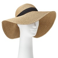 Women's Floppy Brim Hat with Black Ribbon Sash - Brown