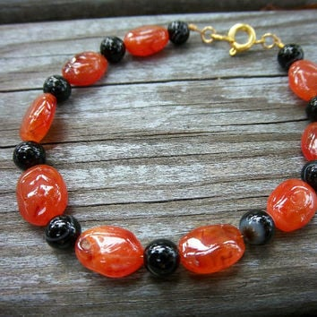 Halloween Carnelian and Blackstone Gemstone Bracelet