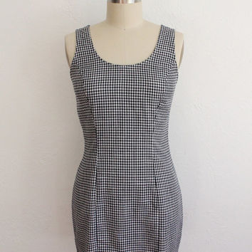 Vintage 90s Black & White Gingham Fitted Mini Dress // Short Micro Dress