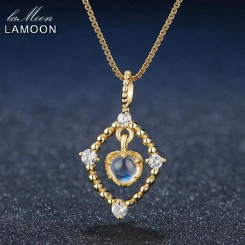 Lamoon 4mm Natural Ligth Blue Moonstone 925 Sterling Silver Chain Pendant Necklace Jewelry 14K Yellow Gold Plated S925 LMNI036