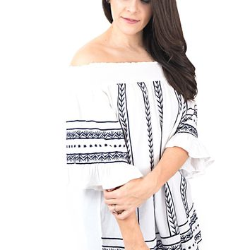 Women's Off Shoulder Embroidered Top