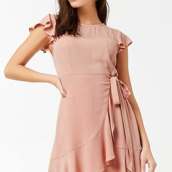 Flounce Mock Wrap Dress