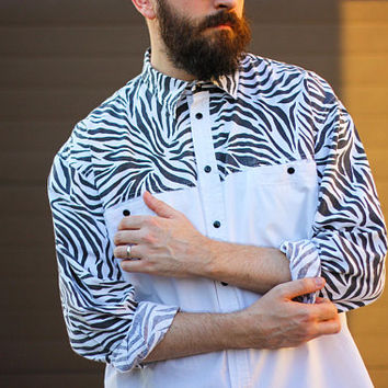 90's Men's ZEBRA Shirt / Vintage Cotton Relaxed Fit Animal Print Long Sleeve Collared Shirt / B&W Grunge, Rave, Size L