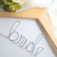 Personalized wedding hanger FREE wire love or mrs ring with purchase.Bride.Bridesmaids.Maid of Honor.