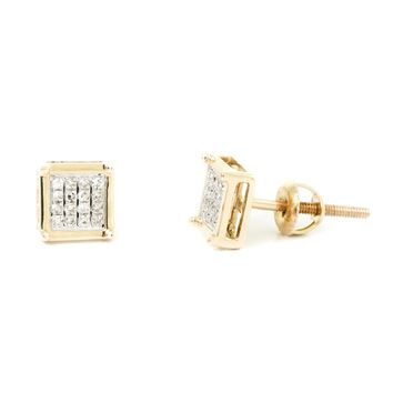 0.10 CT, White Round Brilliant Cut Diamond Micro-Pave Setting Square Men's Stud Earrings In 14K Gold