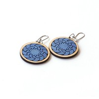 Metallic blue wooden earrings - model 6.2
