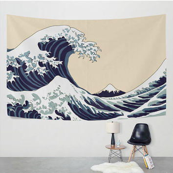 The Great Wave off Kanagawa Tapestry Wall Hanging Famous Japanese Ocean Wave Painting Wall Decor Art for Living Room Bedroom Dorm