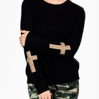 knit-cross-patch-sweater BLACKBEIGE - GoJane.com