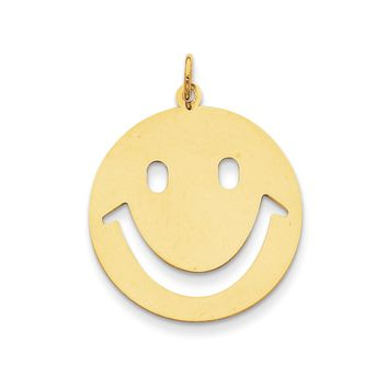 14k Yellow Gold Polished Cutout Smiley Face Pendant, 25mm (1 inch)