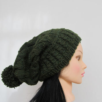 Knitted hat / beret - Dark Green Unisex Slouchy Hat Tassel, Fall Fashion,Slouch Beanie Hat