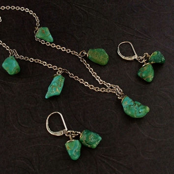 Vintage NATIVE American Turquoise NECKLACE EARRINGS Navajo Sterling Silver Chain Hallmarks c.1940's