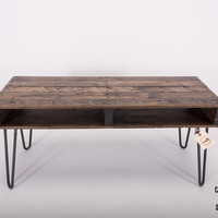 Handmade Reclaimed Pallet Wood TV Stand / Media Stand with Hairpin Legs, Slim Coffee Table