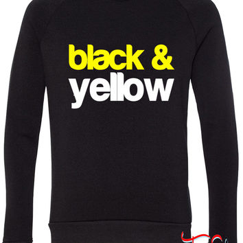 Black and Yellow Wiz Khalifa Design 6 fleece crewneck sweatshirt