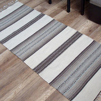 Striped white and brown rug with gray - handwoven unique striped rug - home decor rug, handmade of pure wool