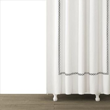 Tivoli Embroidered Shower Curtain | Black